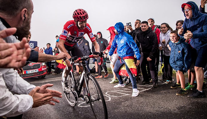 Froome in action during stage 17 of this year's Vuelta. Photograph: Simon Gill/Action Plus via Getty Images