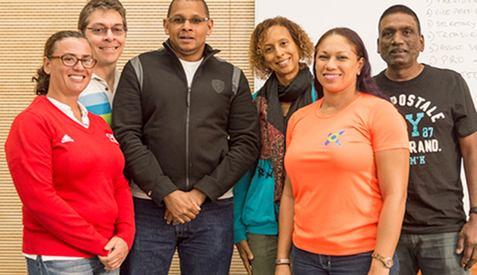 Newly elected president of the T&T Triathlon Federation, Paul Hee Houng, third from left, with other members of the new team including Karen Araujo (secretary), from left, treasurer Kyle Rudden, Lara Baden-Semper (Trustee), Riana Harrinauth (vice president), Sham Seejattan. Missing is Kiyomi Rankine (public relations officer). This was at annual general meeting of the TTTF at the Cycling Velodrome in Couva on Sunday.