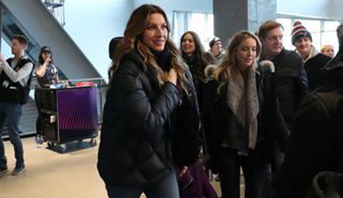 Brazilian model Gisele Bundchen (middle), wife of New England Patriots quarterback Tom Brady (not pictured), walks though U.S. Bank Stadium before Super Bowl LII between the Patriots and the Philadelphia Eagles. Kevin Jairaj, USA TODAY Sports