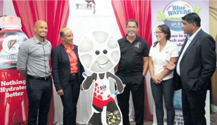 Stakeholders following yesterday's launch of the T&T International Marathon at Olympic House on Abercromby Street, Port-of-Spain. In photo from left are Gatorade Band Manager Joel Dalrymple, TTIM Chairperson Diane Henderson, Race Director Francis Williams-Smith, Research and Communications Manager Kiss Baking Company Sarah Jones and TTIM General Secretariat/All Sports Promotions Anthony Harford. PICTURE ALLAN V. CRANE