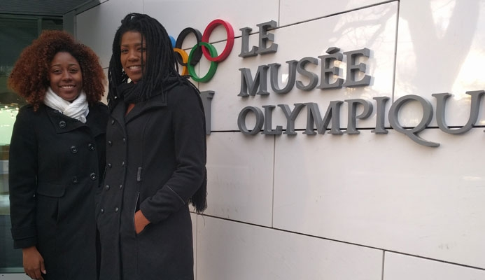 Members of the TTOC marketing team Chanelle Young, left, and Rheeza Grant, at the Olympic Museum in Lausanne, Switzerland.