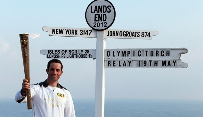 Sailor Ben Ainslie carried the London 2012 Olympic flame at Land's End ©Getty Images