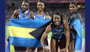 The Bahamas 4 x 100m relay team which powered to gold in the 2000 Olympic Games. The team comprised Debbie Ferguson, Sevatheda Fynes, Chandra Sturrup, and Pauline Davis-Thompson.