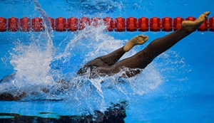 In this photo provided by the IOC, Trinidad and Tobago's Shanntol Ince competes in heat 1 of the women's 400-metre freestyle - S9 swimming event at the Olympic Aquatics Stadium during the Paralympic Games, in Rio de Janeiro, Brazil, September 9. AP