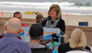 ANOC Secretary General Gunilla Lindberg at today's press conference at Mission Beach, San Diego – venue for the inaugural ANOC World Beach Games