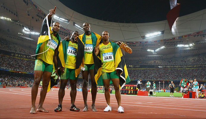 The team of, from left to right, Asafa Powell, Nesta Carter, Usain Bolt and Michael Frater have all now returned their medals to the IOC ©Getty Images