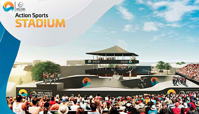 An artist rendering of the skate and BMX parks. Image courtesy of ANOC World Beach Games