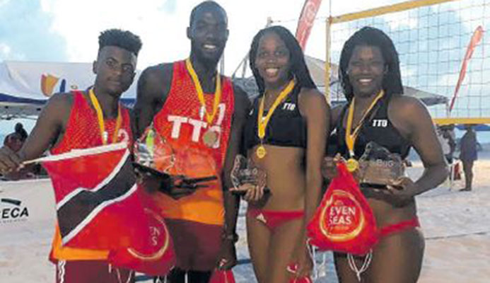 T&T teams, Daneil Williams and Daynte Stewart (men) and Abby Blackman and Rheeza Grant are in Florida to compete in the Dig The Beach Volleyball Summer Tour at Pompano Beach, starting today. PICTURE PAUL WHITE