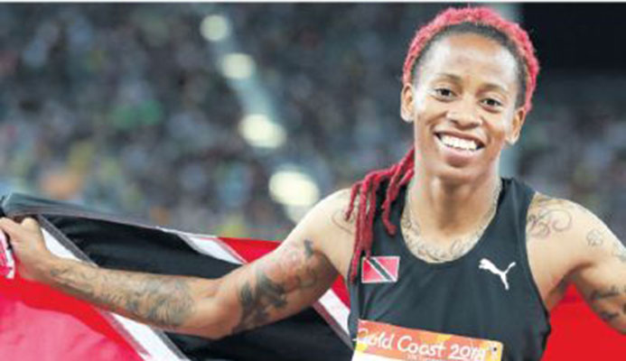 T&T's Michelle-Lee Ahye following her victory in the Women's 100m Sprint Finals of the Gold Coast 2018 XXI Commonwealth Games at Carrara Stadium, Gold Coast, Australia, yesterday. PICTURE CA-IMAGES/ALLAN CRANE