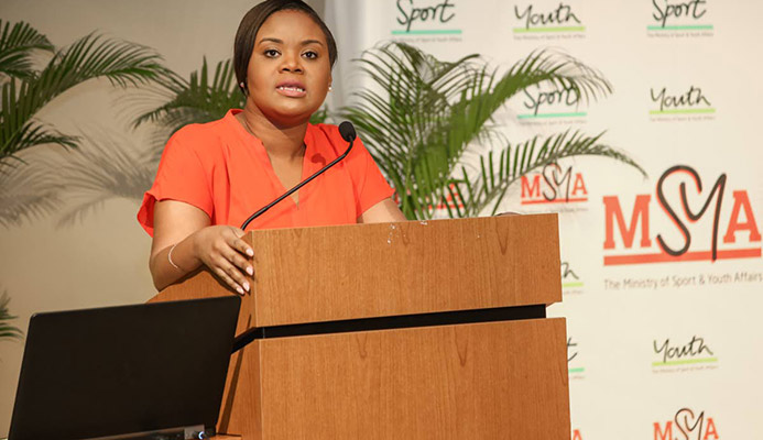 Minister of Sport and Youth Affairs Shamfa Cudjoe