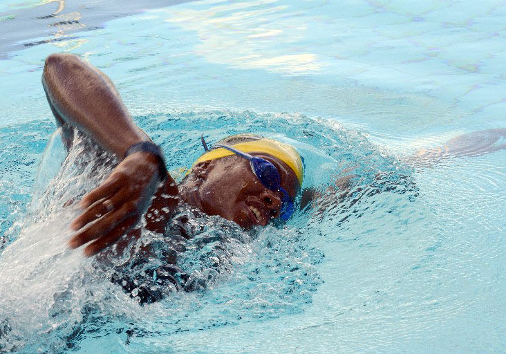 ON THE GO: Swimmer Cherelle Thompson gets into stride during a training session at the National Aquatic Centre (NAC) in Balmain, Couva, yesterday. —Photos: ROBERT TAYLOR""