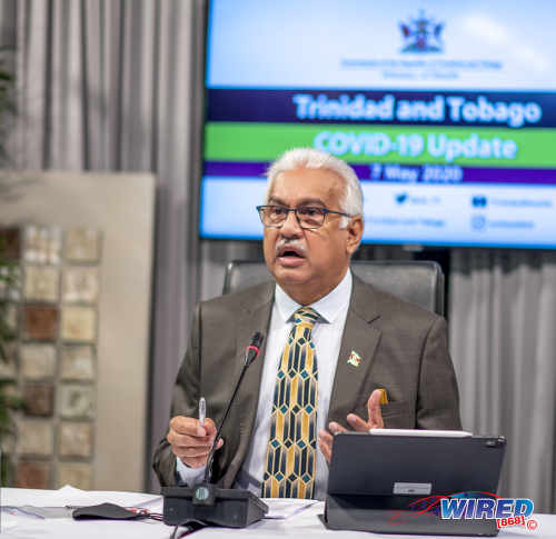 Photo: Minister of Health Terrence Deyalsingh addresses journalists during a virtual media conference on 7 May 2020. (Copyright Ghansham Mohammed/GhanShyam Photography/Wired868)
