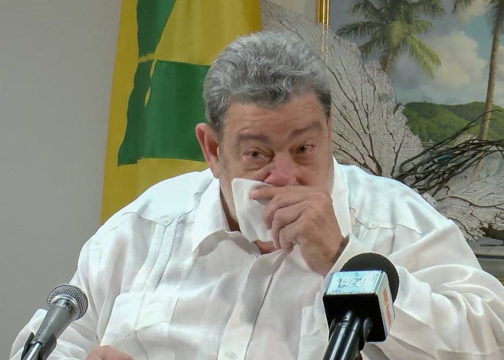 Dr Ralph Gonsalves, Prime Minister of St Vincent and the Grenadines, at a emergency press conference on Friday. Screengrab from live media conference -