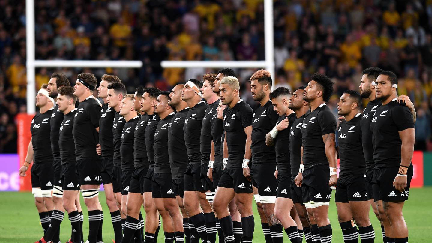 All Blacks players during the national anthem. Photo / Photosport